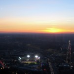 The Fenway Park during a sunset in Boston.